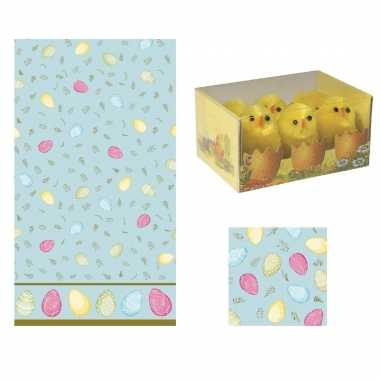 Pasen tafeldecoratie set eieren tafelkleed, 6x kuikens en 20x servetten tafeldecoratie pasen