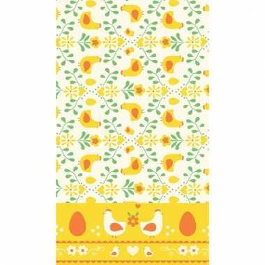 Pasen thema tafelkleed geel/oranje 138 x 220 cm