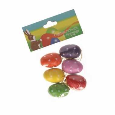 Plastic paaseitjes gekleurd 6 stuks
