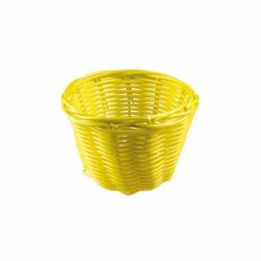 Rieten paasei mandje geel 14 cm