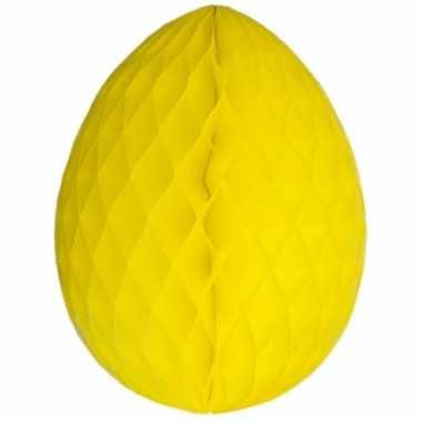 Set van 3x stuks gele decoratie paaseieren 10 cm brandvertragend
