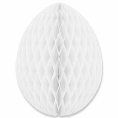 Witte decoratie paasei 10 cm brandvertragend
