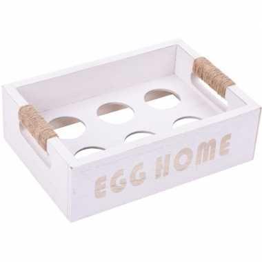 Witte kist voor 6 eieren 19 cm