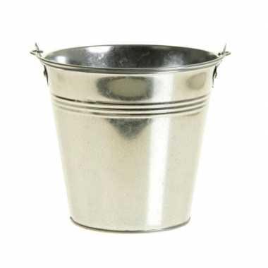 Zinken emmertje/bloempot zilver 14 cm hoog