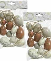 24x stuks kunststof vogel eieren paaseieren 4 5 6 cm