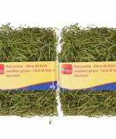 2x zakjes groen kleur houtwol 20 gram vulmateriaal vulling