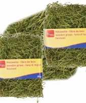 3x zakjes groen kleur houtwol 20 gram vulmateriaal vulling