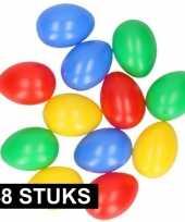 48x plastic paaseieren in leuke kleuren