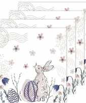 80x pasen thema feest servetjes 33 x 33 cm paashaas paaskonijn print wit roze