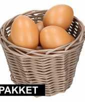Bruin paasmandje met eieren 14 cm