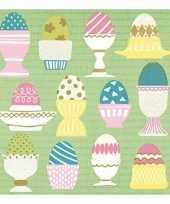 Feest servetten pasen groen met gekleurde eieren 33 x 33 cm