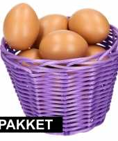 Paars paasmandje met eieren 14 cm