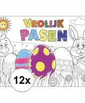 Pasen kleurplaat placemats 12 stuks voor paasontbijt paaslunch